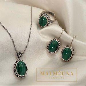 Jewelry - 925 STERLING SILVER GENUINE MALACHITE GEMSTONE SET